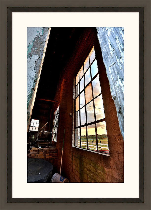 Looking out of the old and crumbling Power Building at Harlinsdale Farm in Franklin, Tennessee