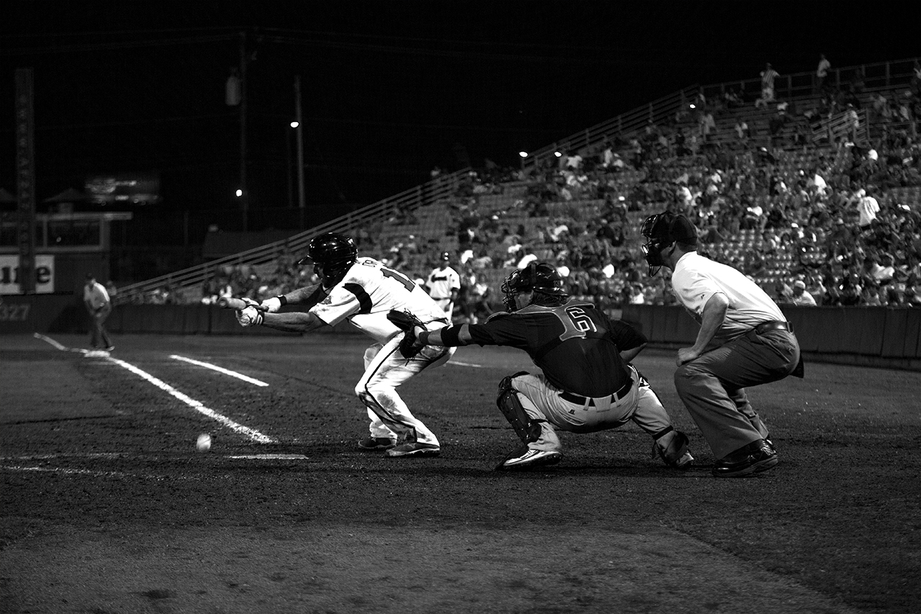 The last hit at Greer Stadium, a bunt single by Pete Orr that loaded the bases with two outs in the bottom of the ninth.