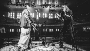 Robert Plant and Patty Griffin rehearse on stage at the Ryman Auditorium before the 2014 Americana Awards. Photo by David McClister.